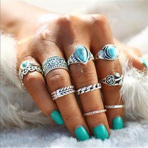 10pc Boho turquoise stacking ring set
